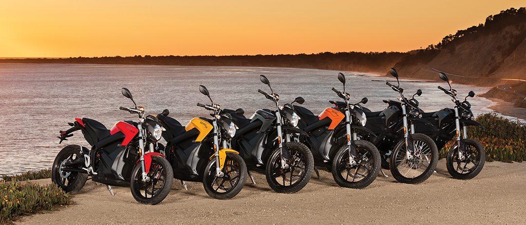Zero Motorcycles sortiment 2017 - Zero SR, S, DSR, DS, FX och FXS. Foto: Zero Motorcycles