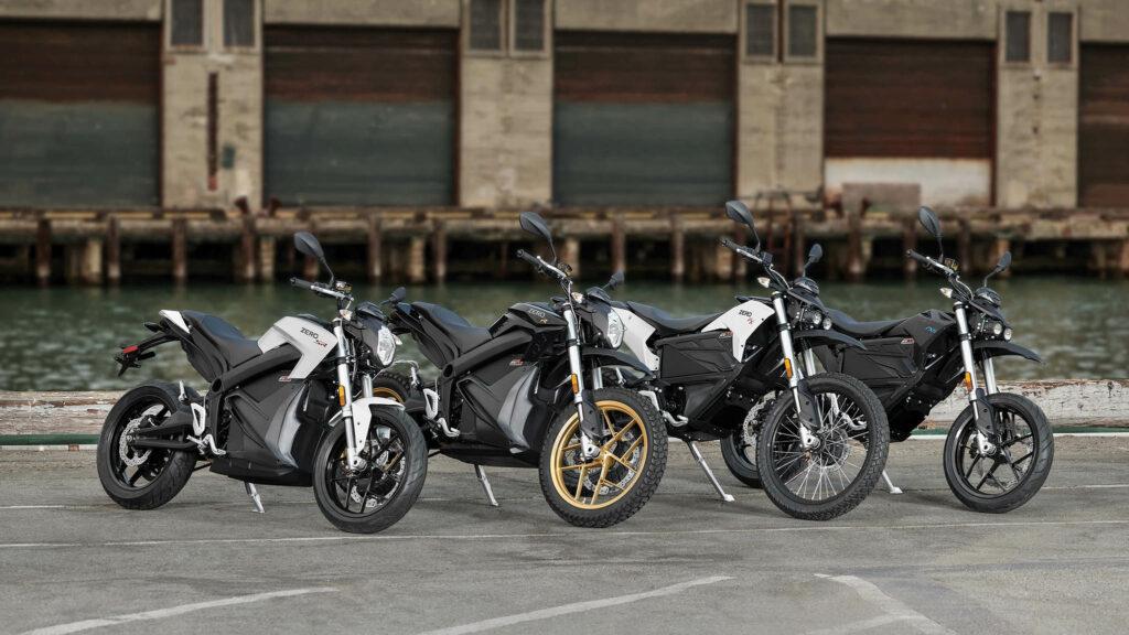 Zero SR, DSR, FX och FXS av 2018 års modeller. Foto: Zero Motorcycles