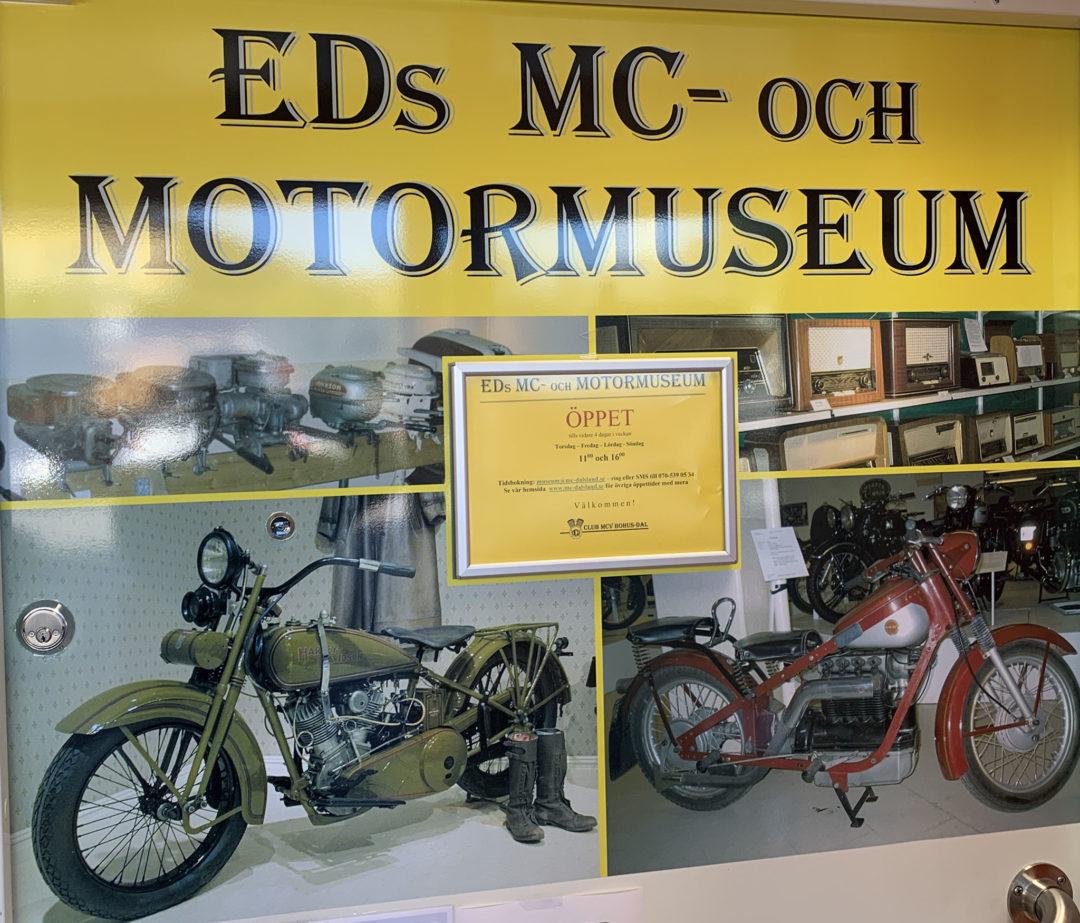 Mellan laddstolpe och pizzeria passerar jag även Eds MC- och motormuseum och ursäktar att jag inte hinner med ett besök med att hit måste jag komma tillbaka till igen!