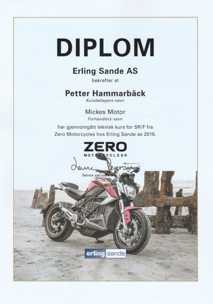 Diplom för genomförd teknisk kurs om Zero SR/F.