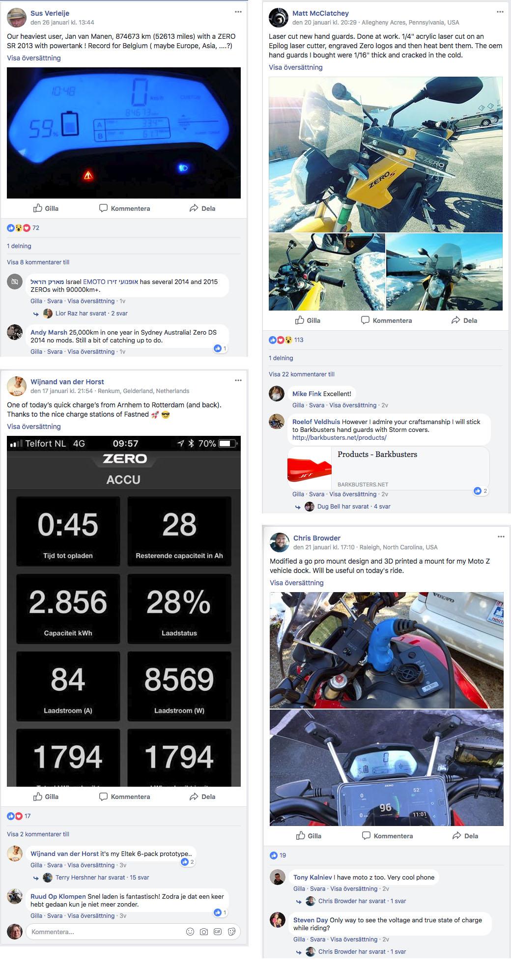 Urklipp från från Facebook-gruppen Zero Motorcycles Owners Group.