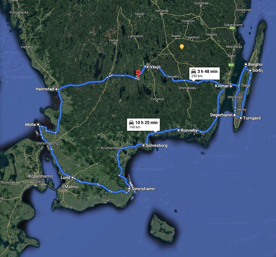 Min resrutt i Google Maps, som dock inte beräknar körsträckan riktigt på samma sätt som det faktiskt blev i praktiken.
