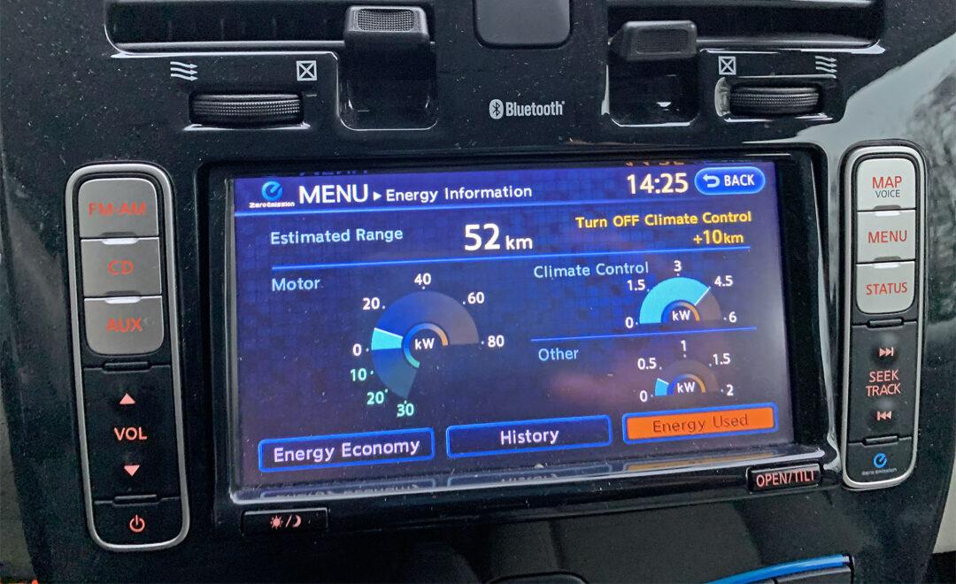 Energiförbrukning under körning. Här står kupévärmen för 1/3 av den totala förbrukningen - 4,5 kW medan framdrivningen för närvarande drar 10 kW.