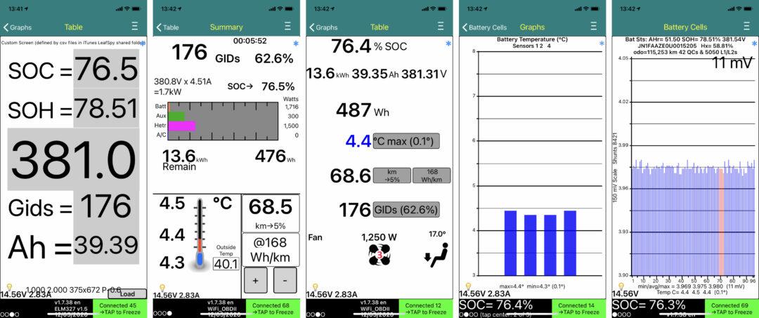 Appen LeafSpy kopplar in sig på fordonsdatorn och läser ut valda delar genom ODB2 – en mängd uppgifter om framförallt batteriets väl och ve.