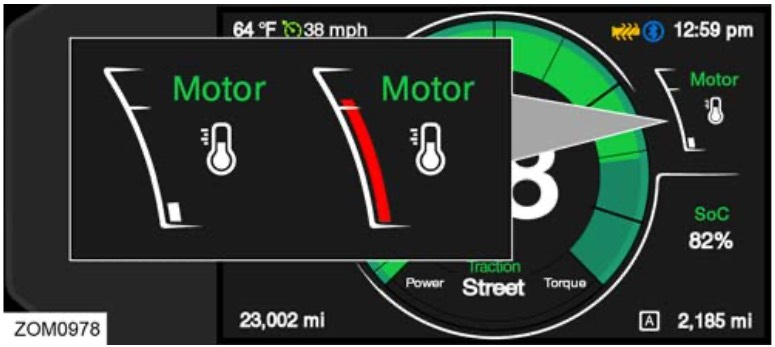 Motortemperaturen visas mellan 20 och 118 grader.