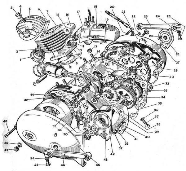 Sprängskiss till delarna i en Rex mopedmotor. Klicka på bilden för att se den i sitt sammanhang. Bildkälla: Rösebäckens Cykel & Motor