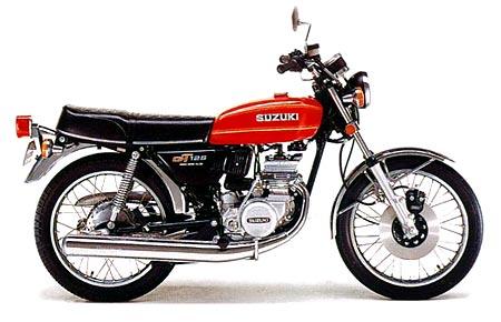 Suzuki GT125 1976 i min ägo mellan 1979-1980. Första lagliga motorcykeln med nytaget körkort. Körde av vägen och bröt benet på tredje dagen. Men benet läkte och hojen gick att laga. Körde slut på tvåtaktsolja och motorn skar i 100 km/h Åkte omkull på asfalt, men steg upp utan en skråma. Hojen tog en del stryk, men gipset var troligen det som räddade mig, för det hängde bara i slamsor och småbitar om det halvläkta benet.