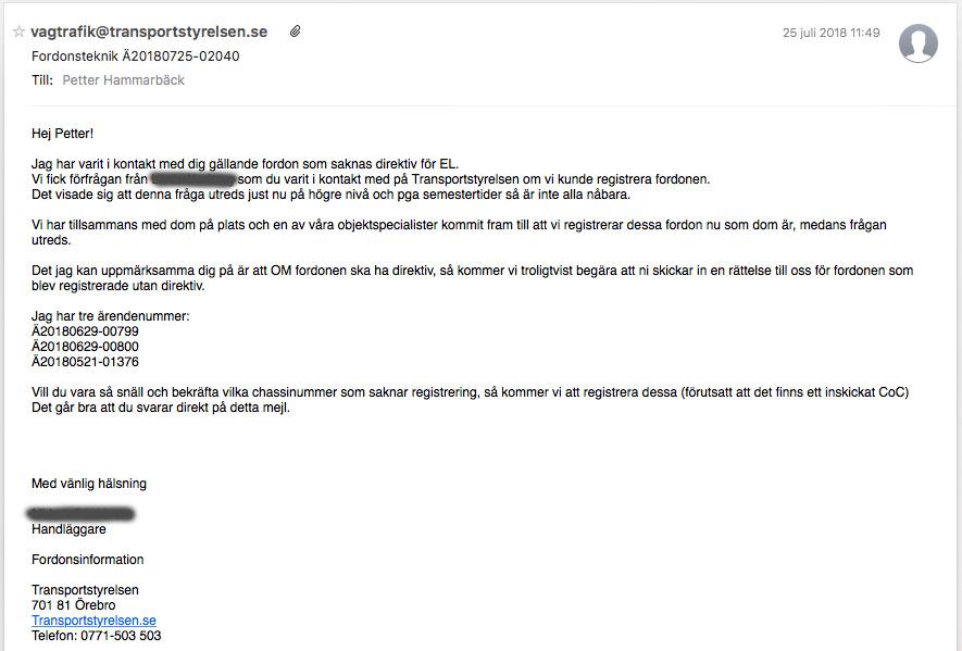 Transportstyrelsen meddelande om att de tillåter registrering av elmotorcyklar utan tidigare begärda avgasdirektiv, men kan komma att kräva kompletteringar i efterhand. Bild: anonymiserad skärmdump på mail från Transportstyrelsen.