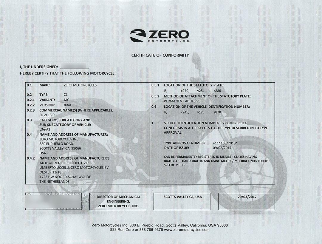 Zeros CoC-intyg för vår första importerade Zero SR.