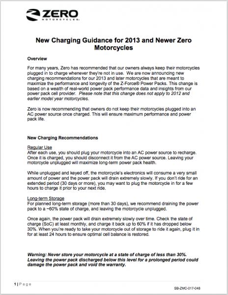 Zeros guideline för att ladda Zero-motorcyklar. Klicka på bilden för att visa guiden.