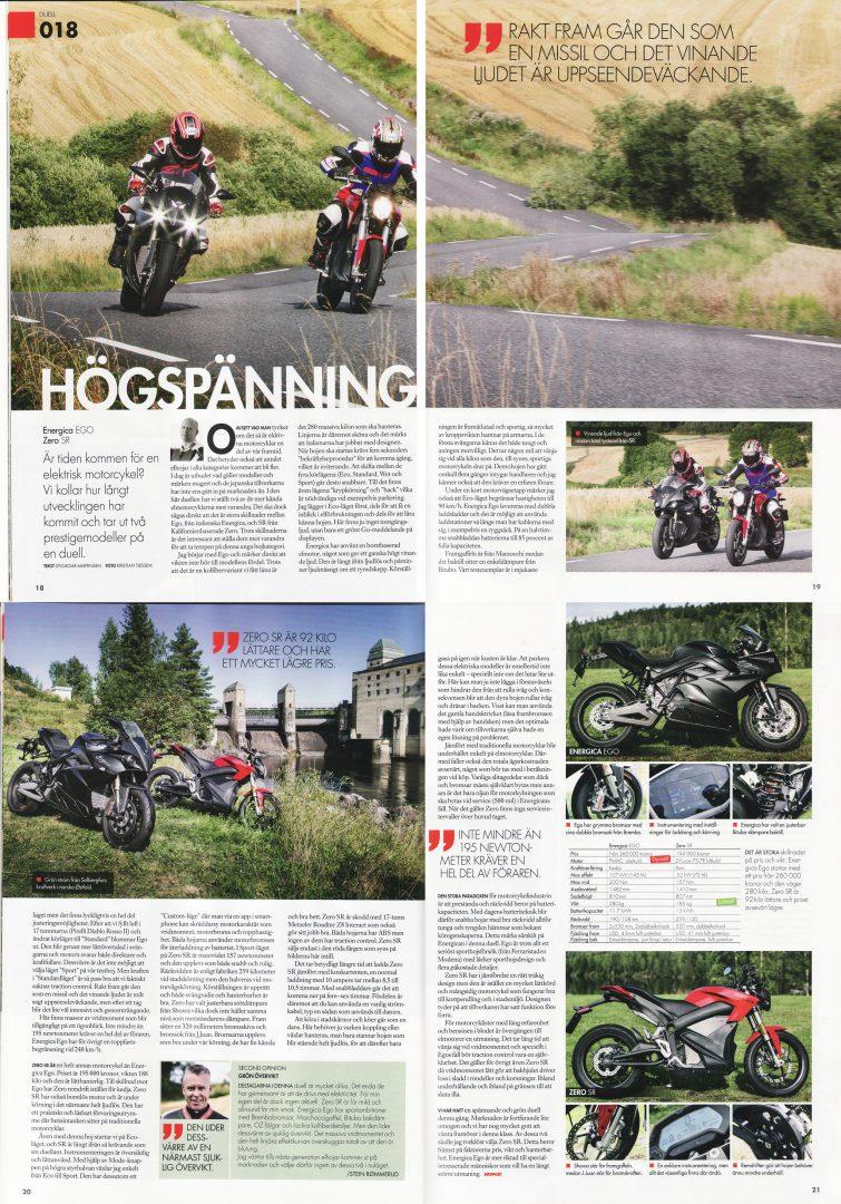 Tidningen Bike testar Zero SR mot Energica EVO Bild: Faksimil ur tidningen Bike nr 10, 2017 sid 18-21.