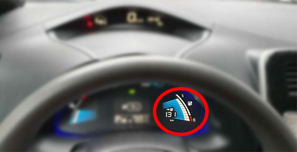 Nissan Leaf har en extra indikator jämte batteriets laddnivå som visar batteriets hälsostatus.