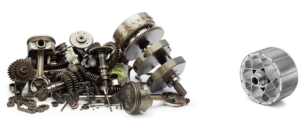 Motordelar jämfört med elmotor. Foto: Zero Motorcycles
