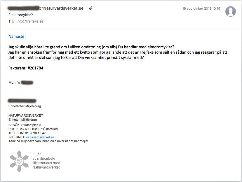 Naturvårdsverket efterfrågar information om det säljande företaget bakom en ansökan om elfordonspremie för elmotorcykel. Bild: anonymiserad skärmbild på mailkonversation.