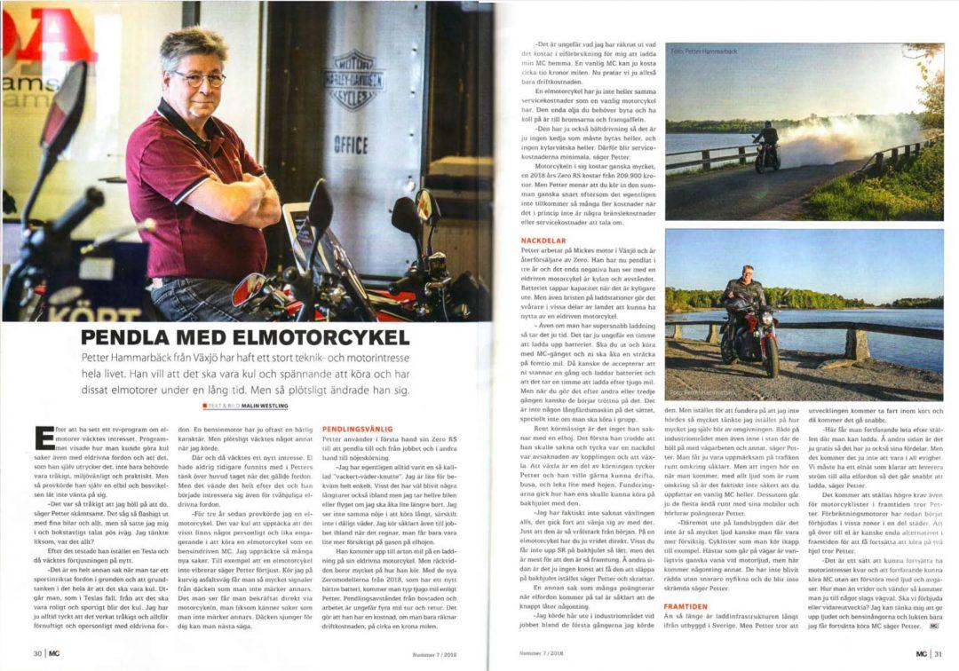 Reportage i MC Folket om att pendla med elmotorcykel.